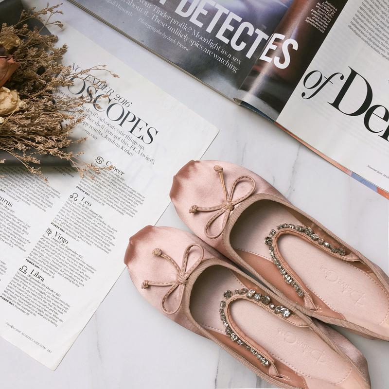 与格单鞋女夏平底鞋绸缎面水钻蝴蝶结一字带浅口芭蕾舞鞋玛丽珍鞋