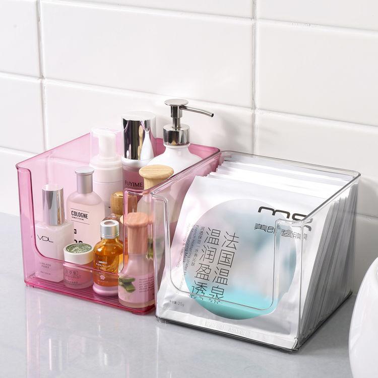 简约透明桌面化妆品收纳盒面膜口红护肤品家用整理盒亚克力置物架