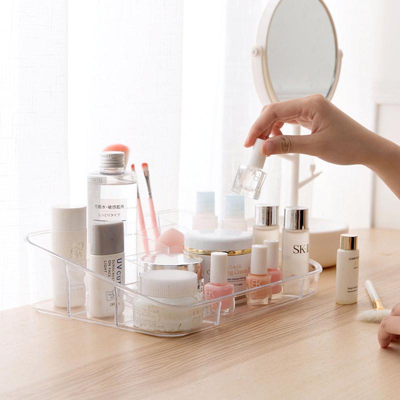 居家家 透明多格收纳盒梳妆台化妆品储物盒 办公室桌面塑料整理盒