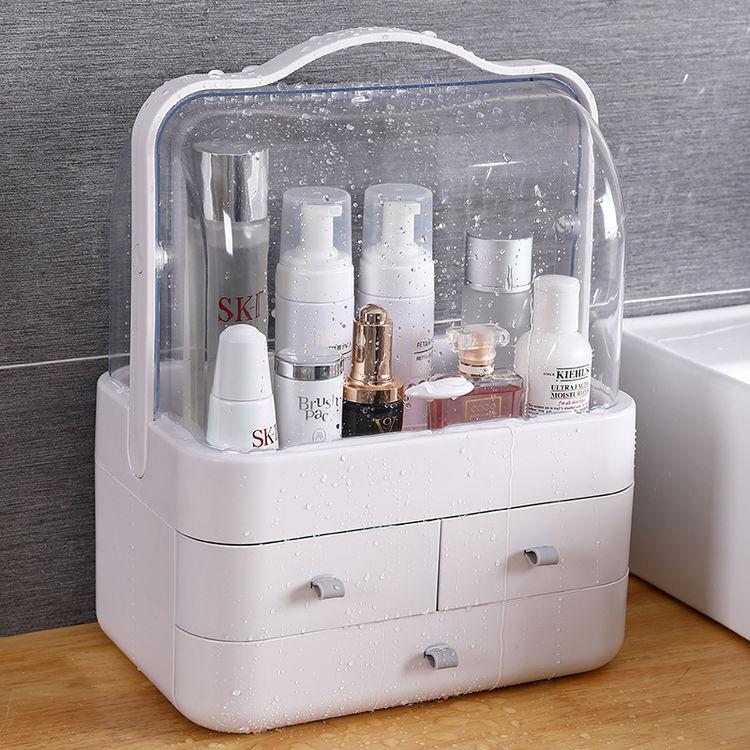 网红化妆品收纳盒透明特大号防尘带盖家用手提梳妆台护肤品置物架