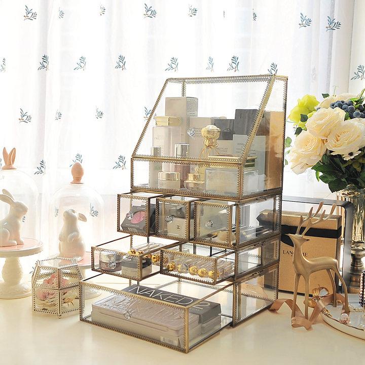 玻璃化妆品收纳盒防尘翻盖护肤带盖非亚克力桌面梳妆台收纳