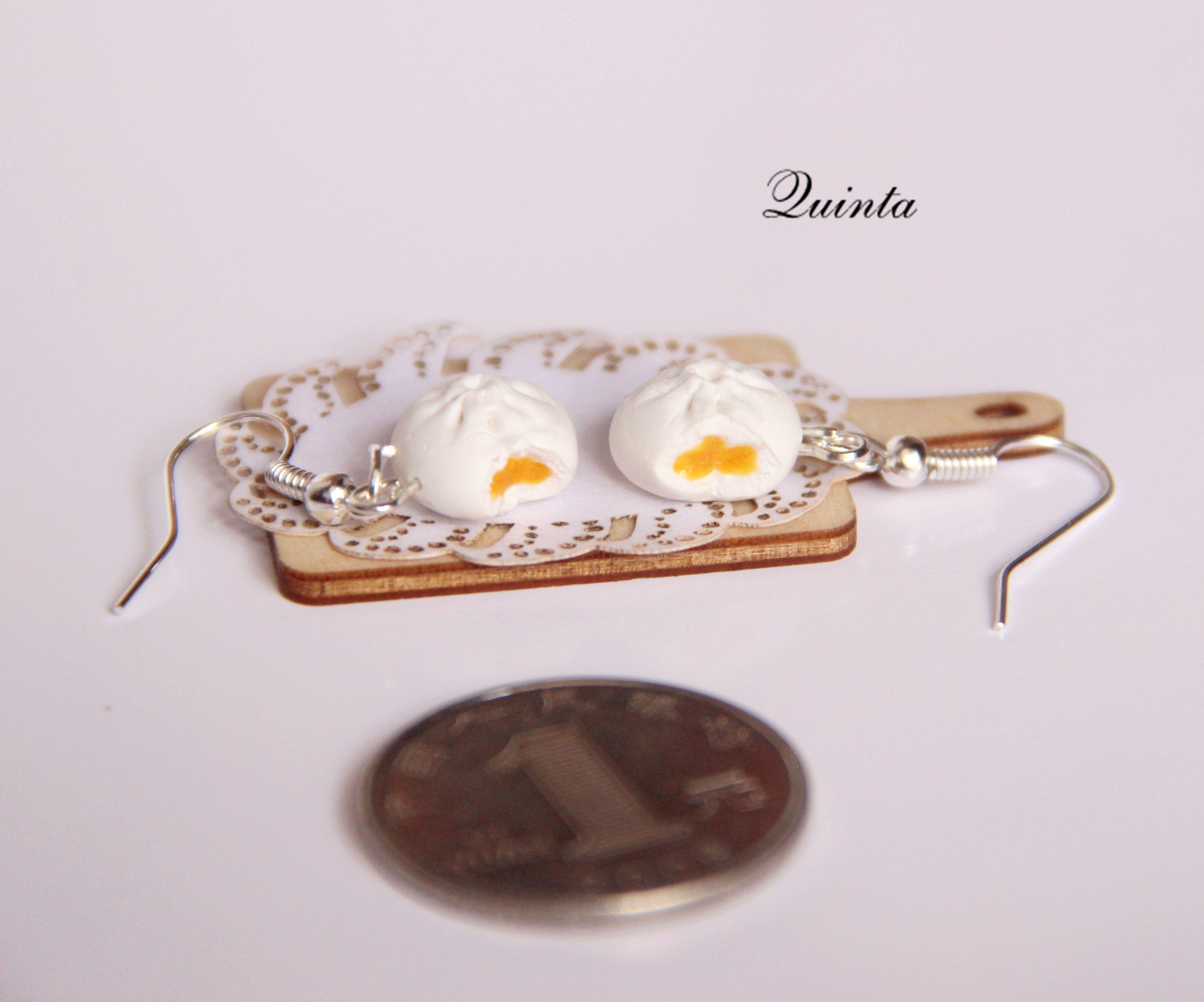 Quinta原创手作叉烧包金沙包耳环耳钉925银饰仿真食物饰品
