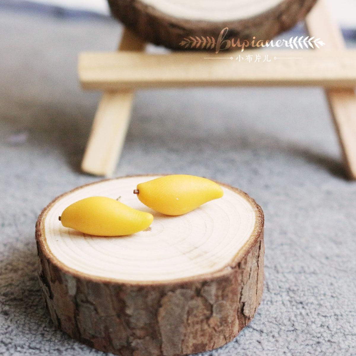 小布手作 芒果水果耳钉 迷你食物可爱萌甜美原创小清新纯银耳饰