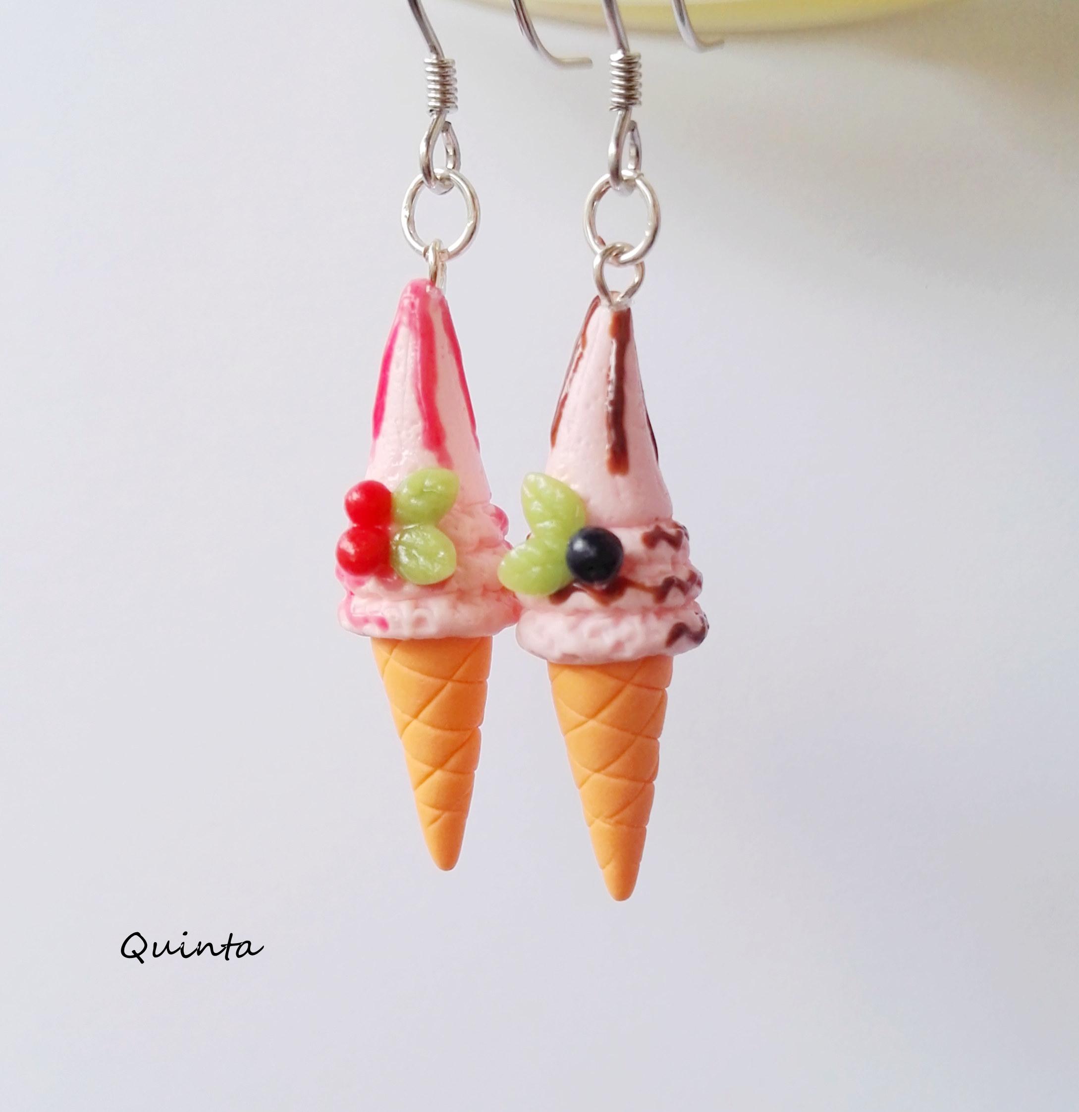 Quinta原创手作草莓冰淇淋牛奶冰淇淋925银耳环耳夹可爱萌系