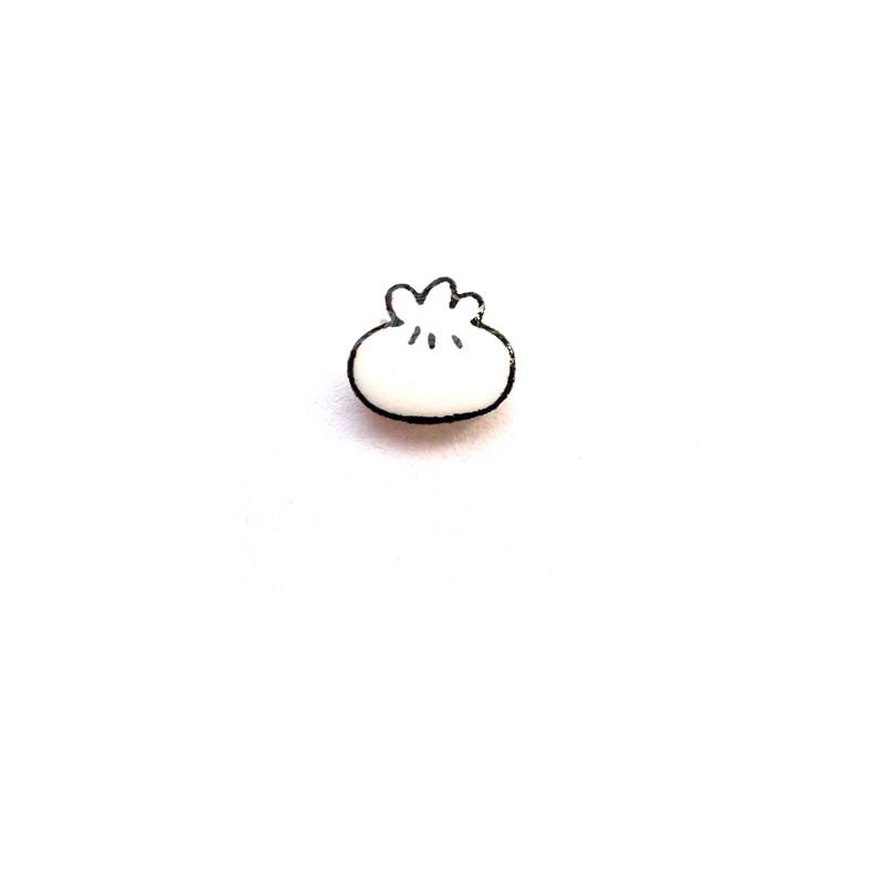 吃货萌系迷你简约耳环包子饺子食物耳钉手工热缩片纯银吸铁石耳夹