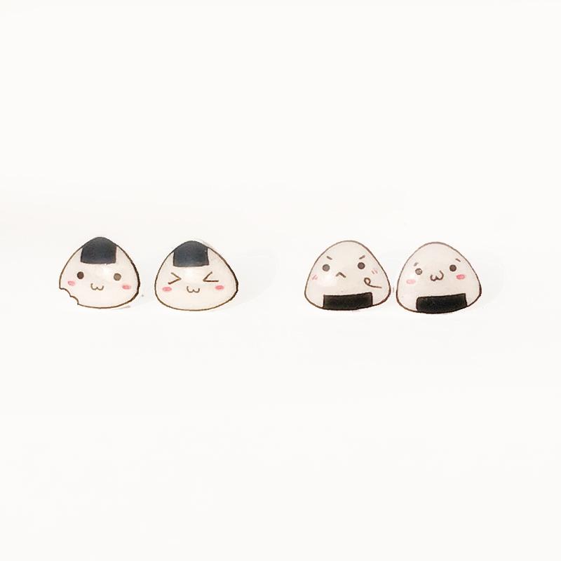 满包邮 萌萌哒饭团君  日韩热缩片925银耳钉耳夹可爱学生手绘