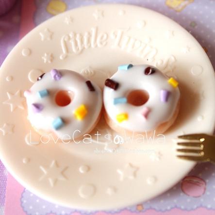 娃娃手作 仿真奶油甜甜圈耳钉 有925 手工 可爱耳饰饰品