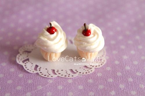 娃娃手作 甜点奶油小蛋糕下午茶 925银耳环手工无耳洞耳夹软妹