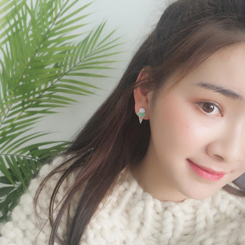 小可爱冰淇淋甜美日韩国粉色卡通耳环耳钉无耳洞耳夹ins少女学生