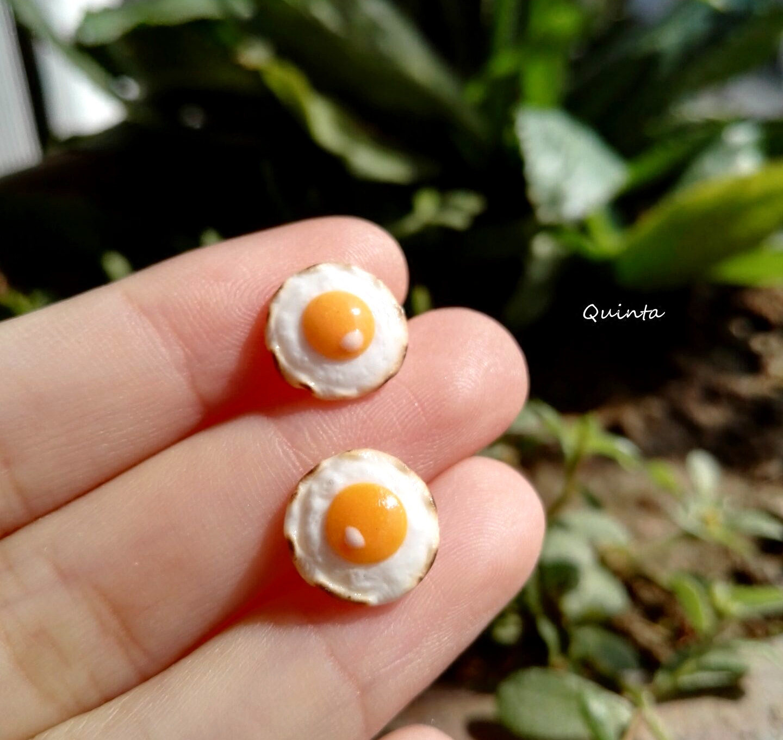 Quinta手作煎蛋荷包蛋耳钉趣味小清新可爱仿真食物耳夹925银耳钉
