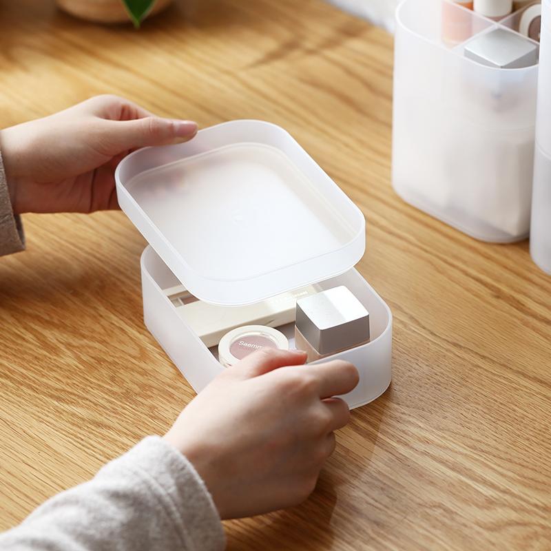 简约桌面化妆品收纳盒 梳妆台半透明塑料磨砂收纳盒 66006