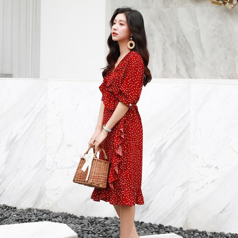 波点红色一片式连衣裙女夏2018新款中长款法式少女复古茶歇裙子春