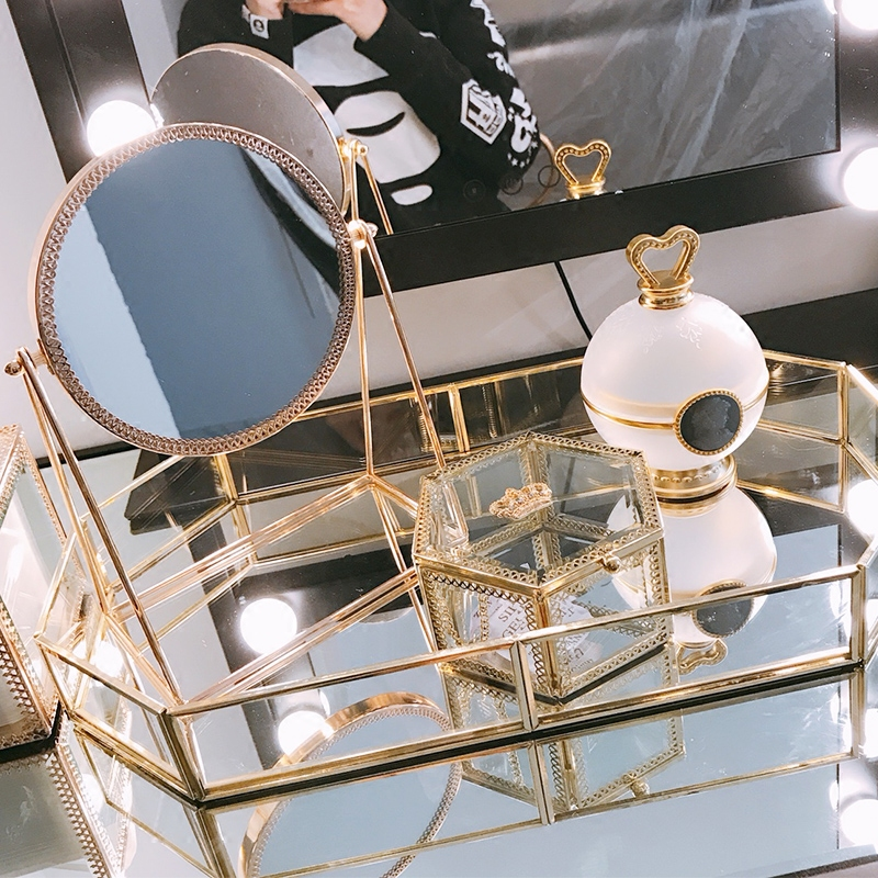 镜子化妆镜台式 公主镜书桌单面台面镜大号托盘化妆品收纳盒随身