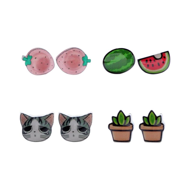 s925纯银耳钉女韩国甜美可爱创意卡通草莓猫咪耳饰雪碧西瓜耳环