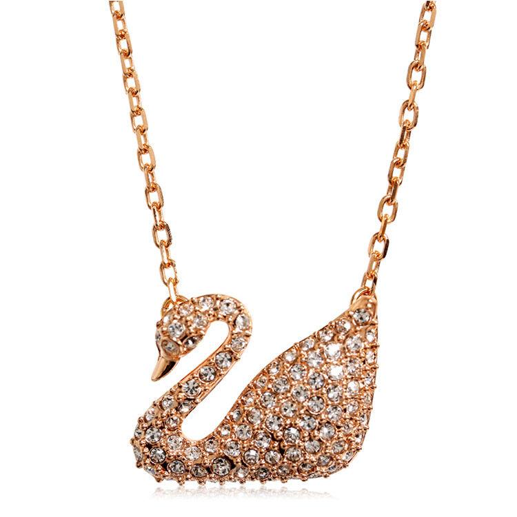 玫瑰金色天鹅项链,施华洛世奇618专场丨挚爱天鹅,一生守候