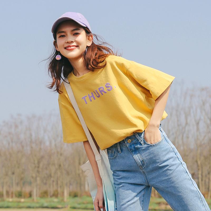 LRUD短袖T恤女2018夏装新款韩版百搭ulzzang宽松学生半袖体恤上衣