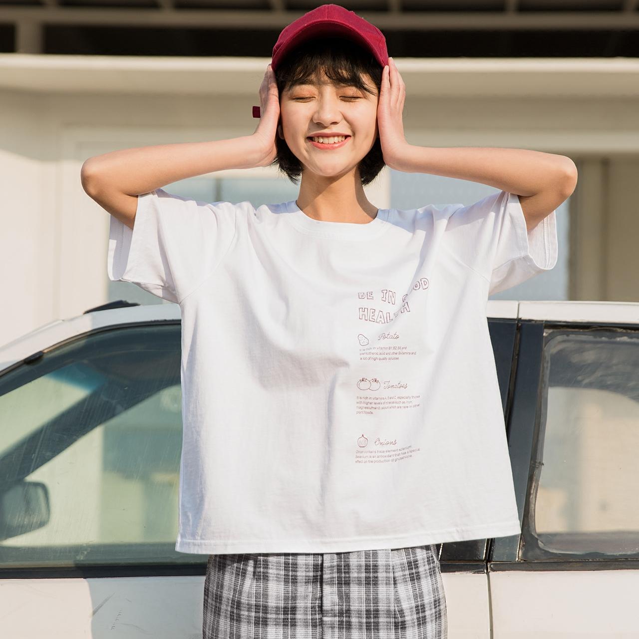 香芋紫色t恤女短袖韩范bf原宿风宽松学生港味小清新chic上衣夏
