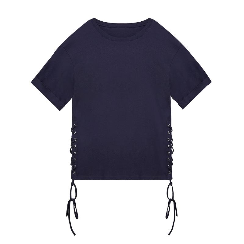 张贝贝ibell2018夏季新款韩版交叉绑带时尚女士纯棉短袖T恤中长款