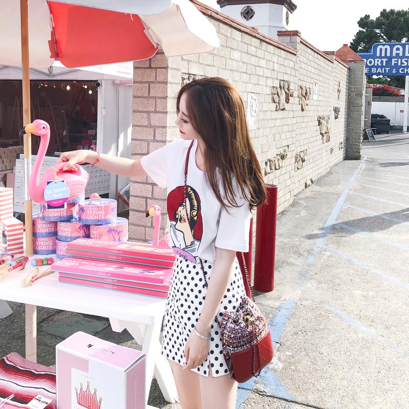 徐琳mini 韩范短袖t恤女夏2018新款抖音网红同款衣服宽松印花上衣