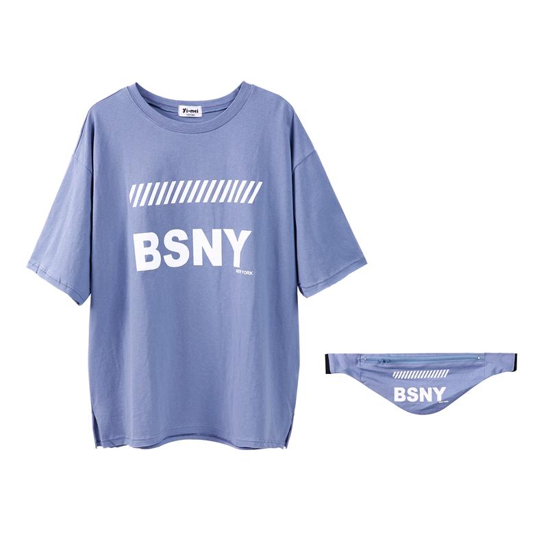 ins2018新款韩版BF宽松上衣嘻哈中长款下衣失踪短袖T恤女夏蹦迪潮