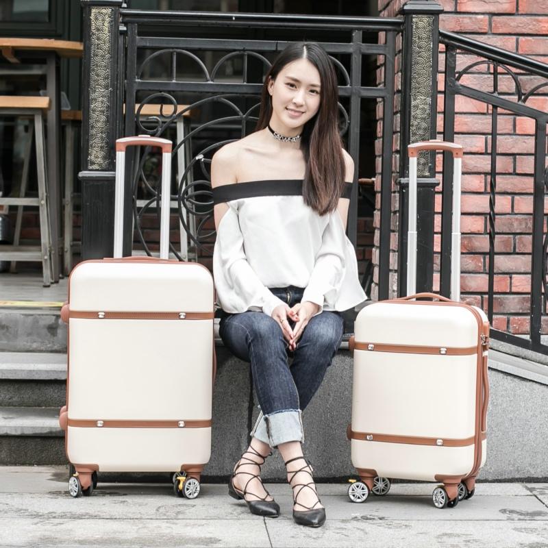 复古拉杆箱旅行箱万向轮皮箱行李箱子20 22 24寸登机箱女学生韩版