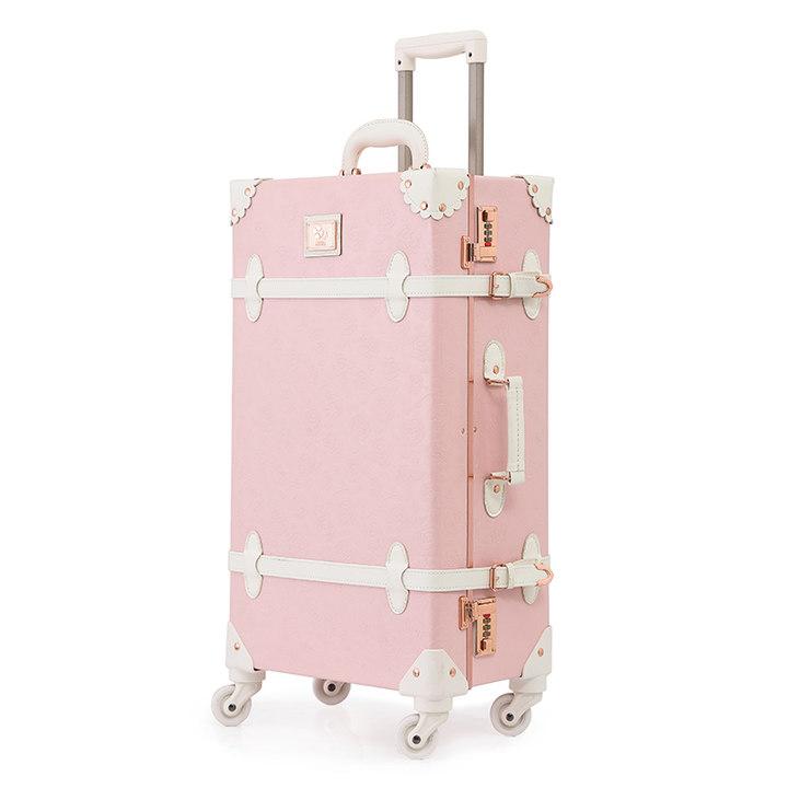 urecity复古行李箱可爱粉拉杆箱万向轮女旅行箱登机箱20寸皮箱轻