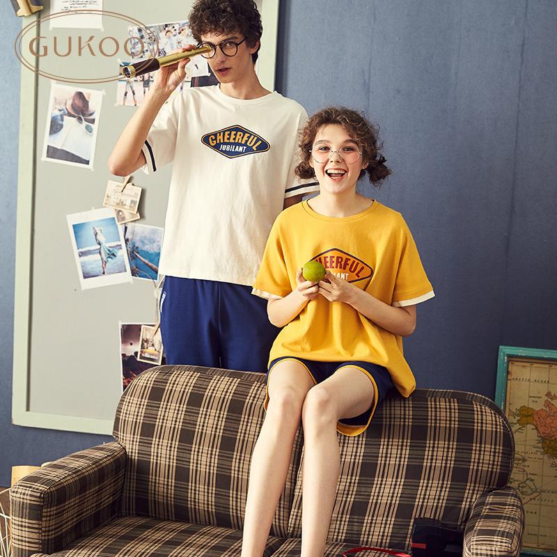 【买三免一】夏季情侣睡衣纯棉薄款家居服情侣睡衣夏全棉睡衣套装