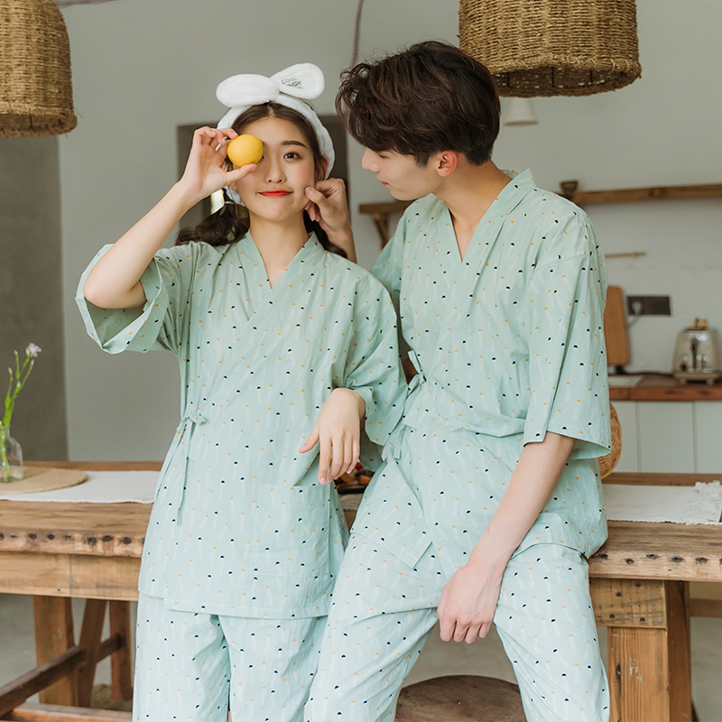 情侣睡衣女夏纯棉短袖可爱套装日式家居服 男和服学生两件套薄款