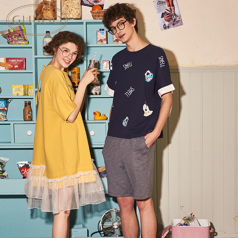 【买三免一】情侣睡衣纯棉春夏季男士卡通印花女夏家居服套装