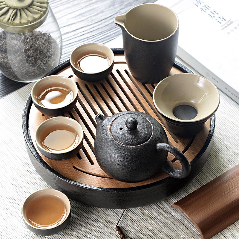 日式便携黑陶瓷功夫茶具套装