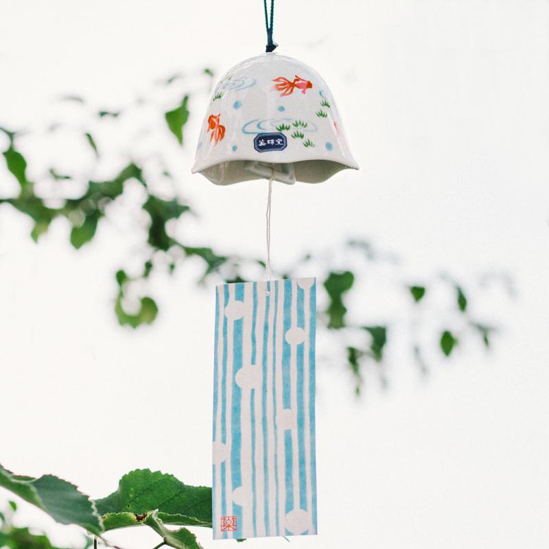日本药师窑陶瓷金鱼铃铛风铃