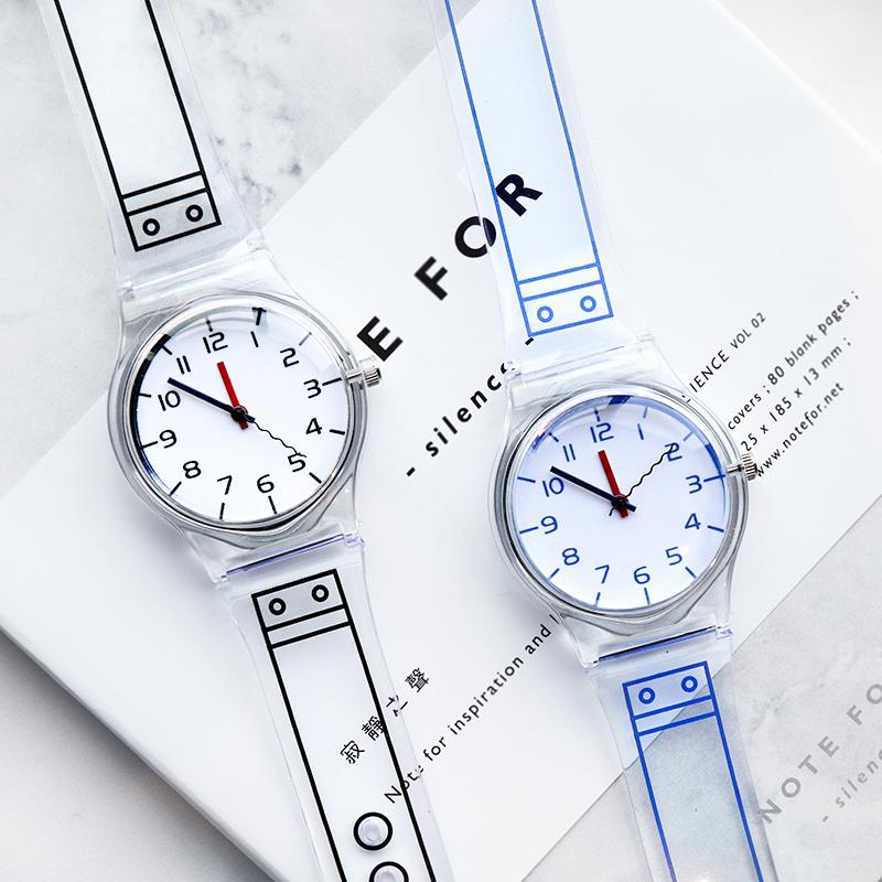 韩国创意可爱简约透明手表休闲小清新表带涂鸦情侣学生腕表男女潮