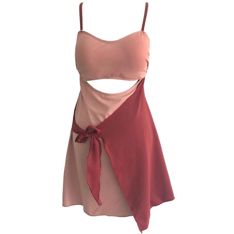 连体裙式遮肚泳衣