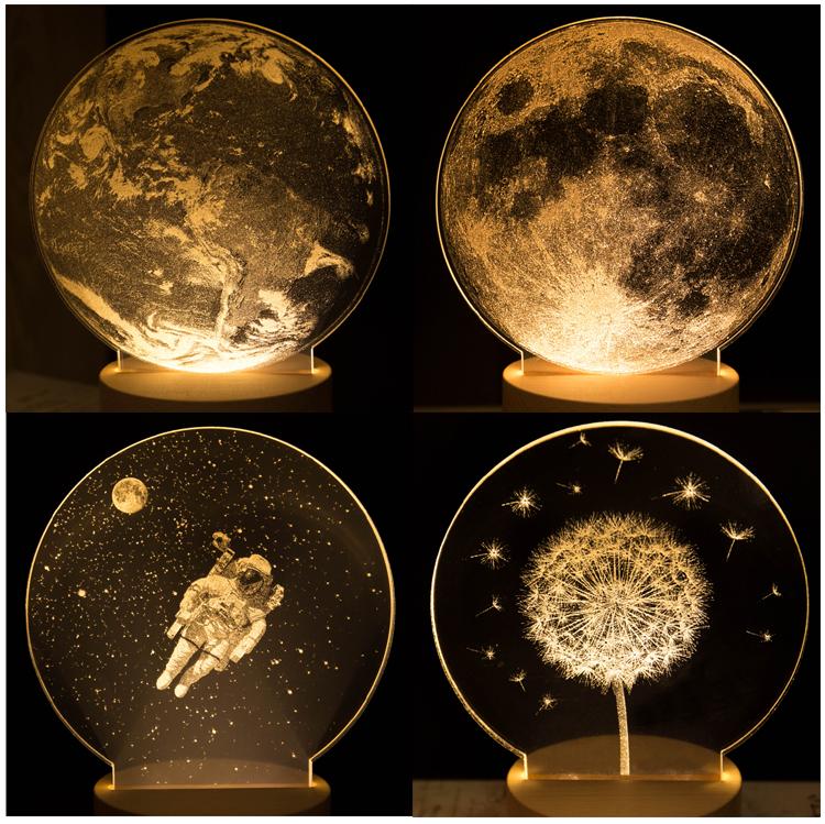 创意蒲公英月球夜灯