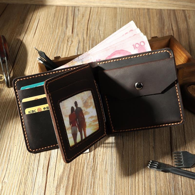 手工复古三折钱包