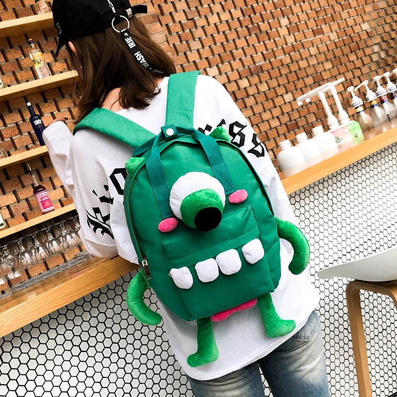 可爱卡通怪兽萌系帆布包