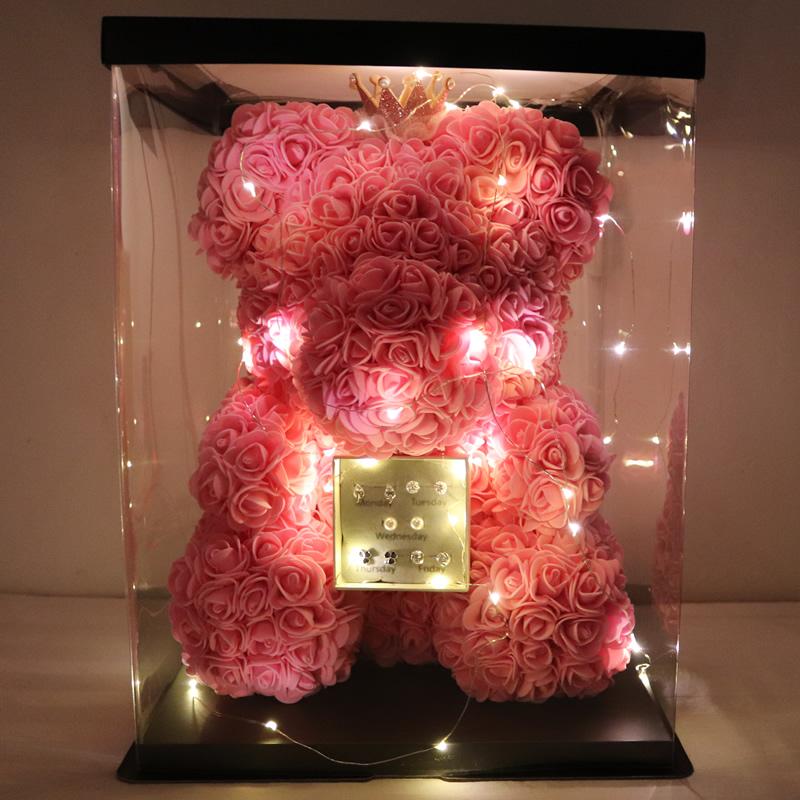 玫瑰花永生花小熊