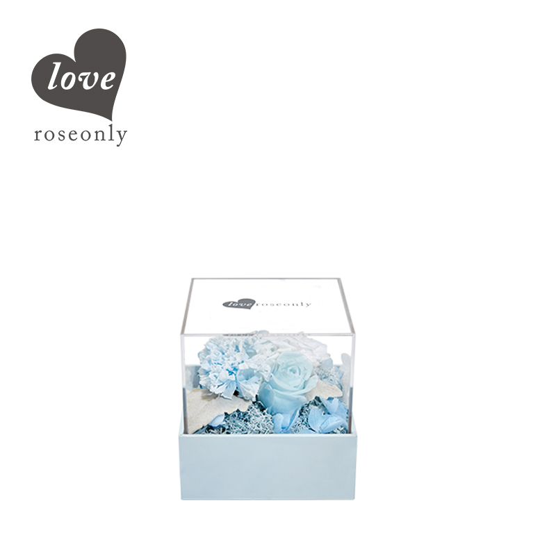 love roseonly 永生玫瑰 水晶之恋小型永生玫瑰花盒