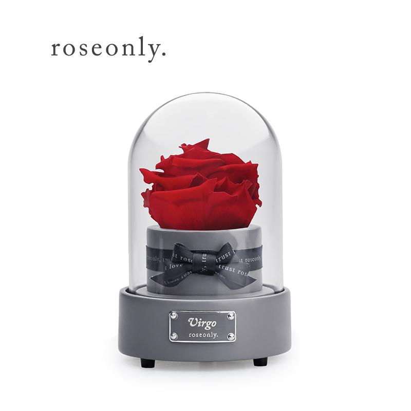 roseonly 情人七夕 星座玫瑰花永生花音乐盒