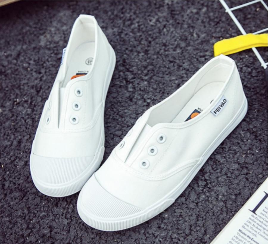 帆布鞋女学生韩版百搭小白鞋原宿ulzzang懒人一脚蹬夏平底布鞋子