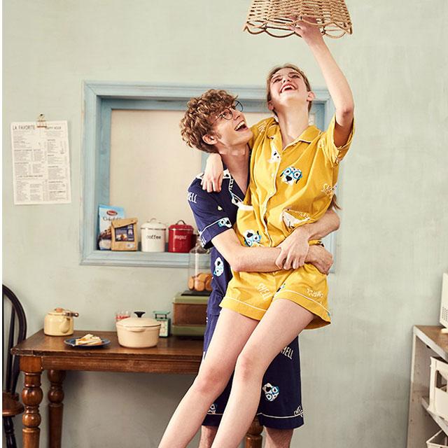 【买三免一】情侣睡衣纯棉短袖卡通睡衣男家居服睡衣女全棉居家服