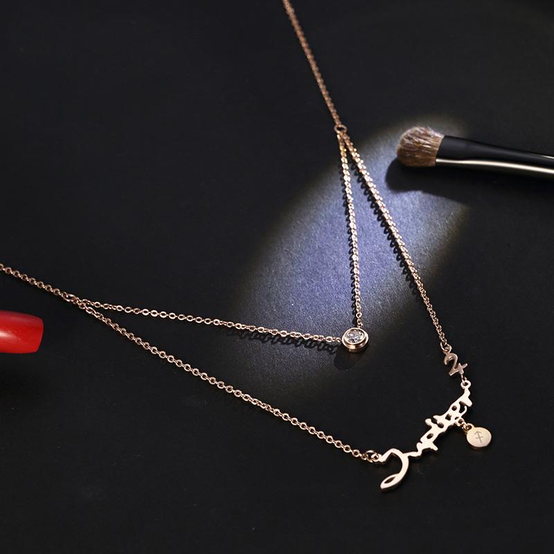 十二星座项链 女双层短款锁骨链字母吊坠