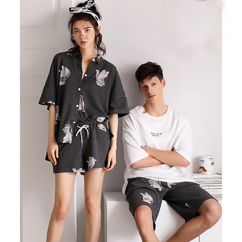 贝妍夏季纯棉情侣睡衣性感开衫女人中袖家居服男士可外穿全棉套装
