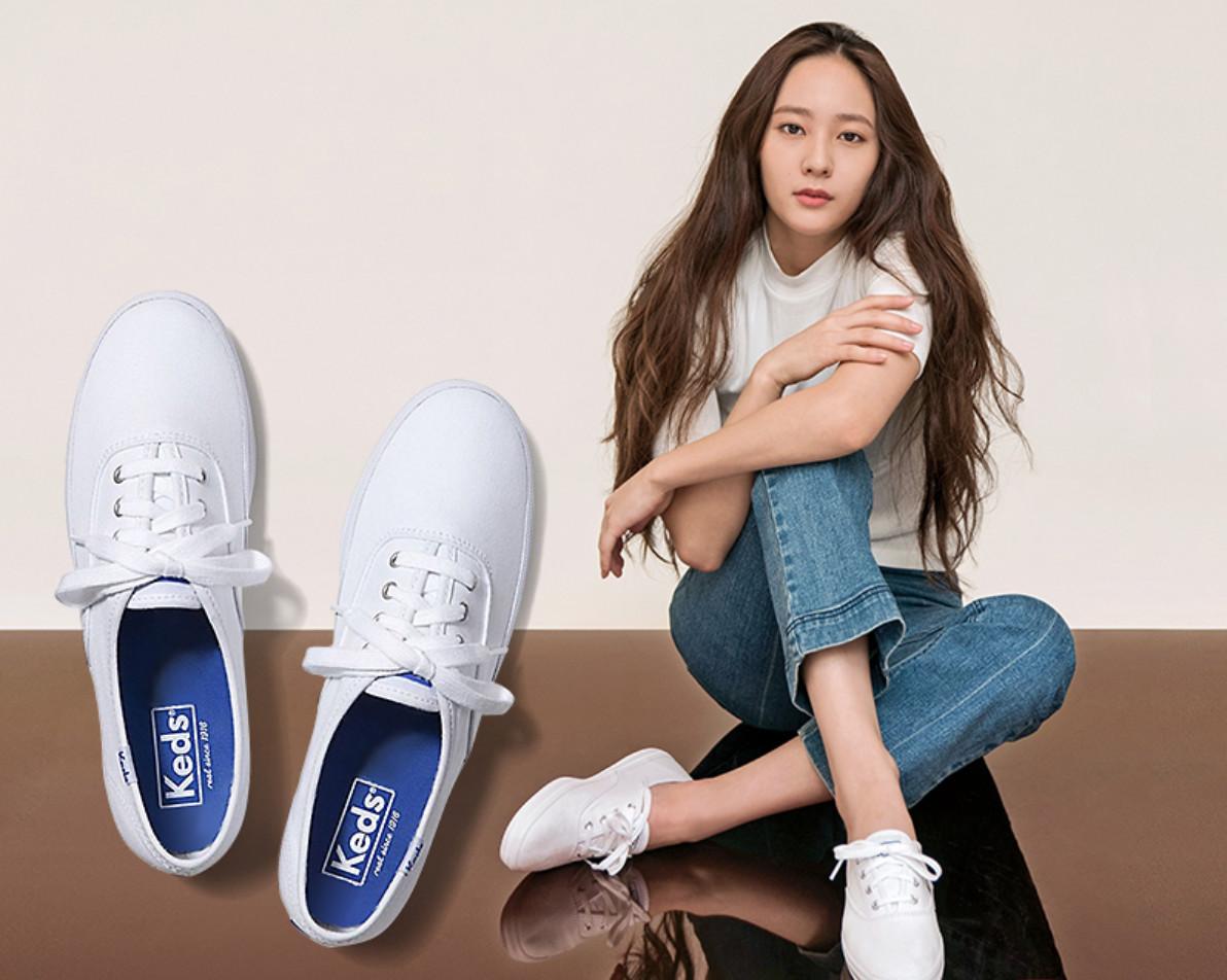 Keds旗舰店郑秀晶同款夏季帆布鞋小白鞋休闲女鞋布鞋单鞋WF34000