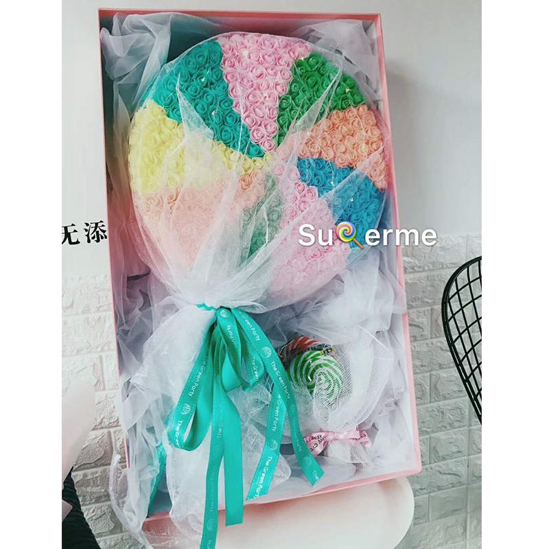 巨型彩虹棒棒糖永生玫瑰花礼盒