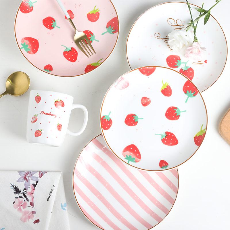 可爱粉色系餐盘套装