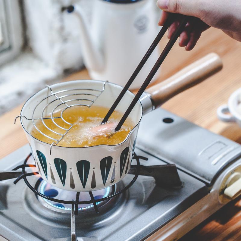 树可珐琅 日式树叶单柄搪瓷奶锅
