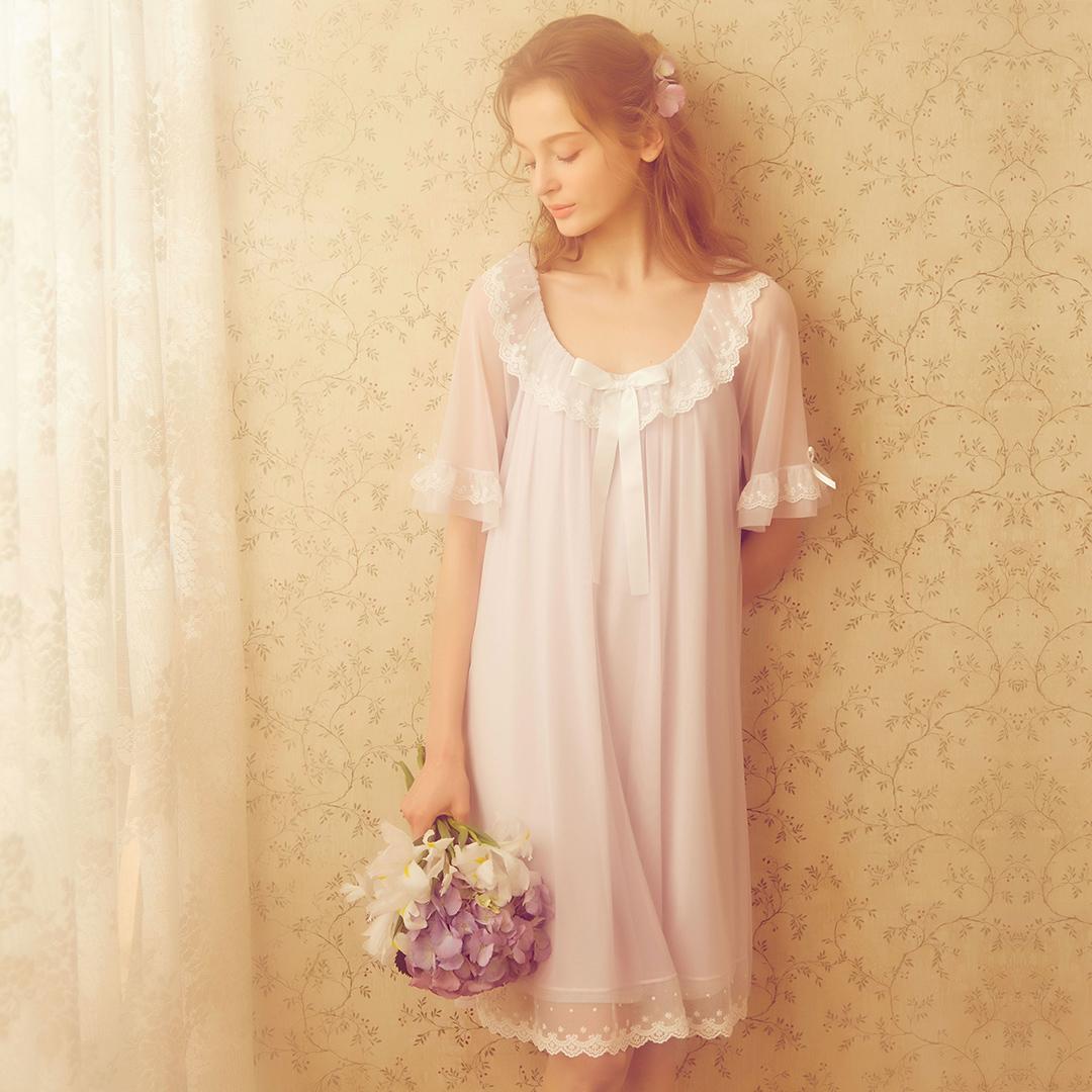 RoseTree 蕾丝睡裙短袖 薄纱冰丝复古