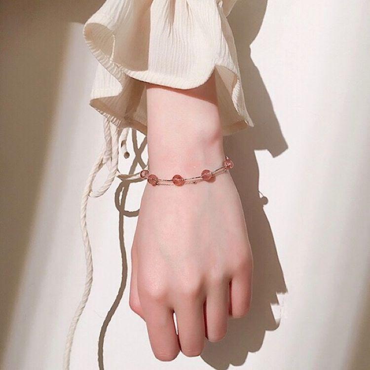 天然草莓晶粉晶手链 双层纯银