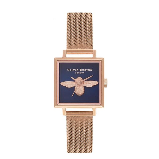 OliviaBurton 方形钢带小蜜蜂 英国进口腕表